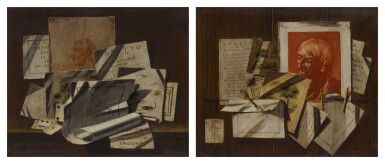 View 2. Thumbnail of Lot 96. A pair of trompe-l'œil still lifes with portrait and landscape sketches, sonnets, mathematical sketches.