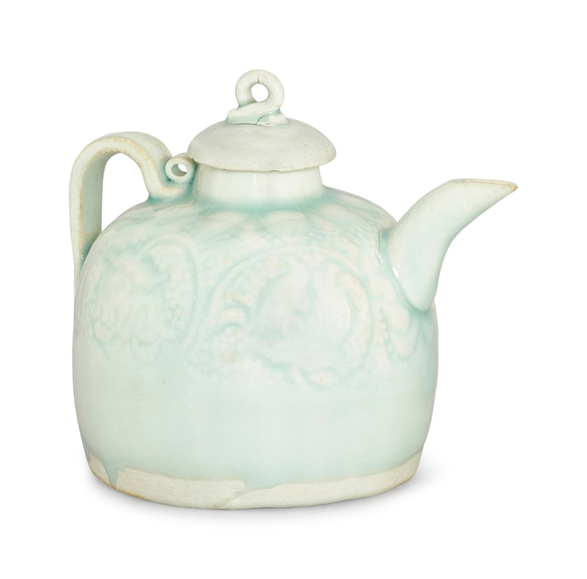 A QINGBAI MOULDED EWER AND A COVER SONG DYNASTY | 宋 青白釉印花帶蓋執壺