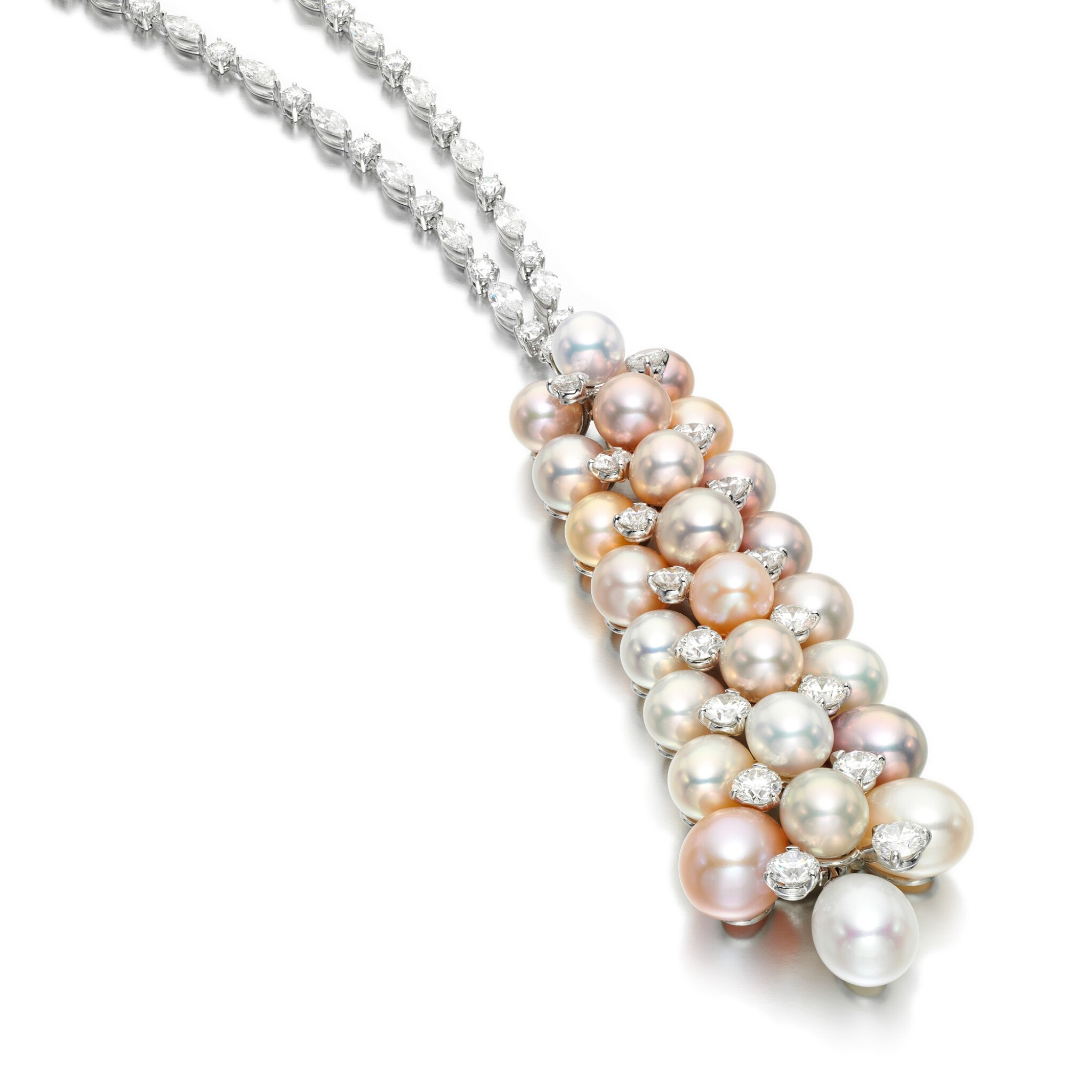 View full screen - View 1 of Lot 54. GRAFF | CULTURED PEARL AND DIAMOND NECKLACE.