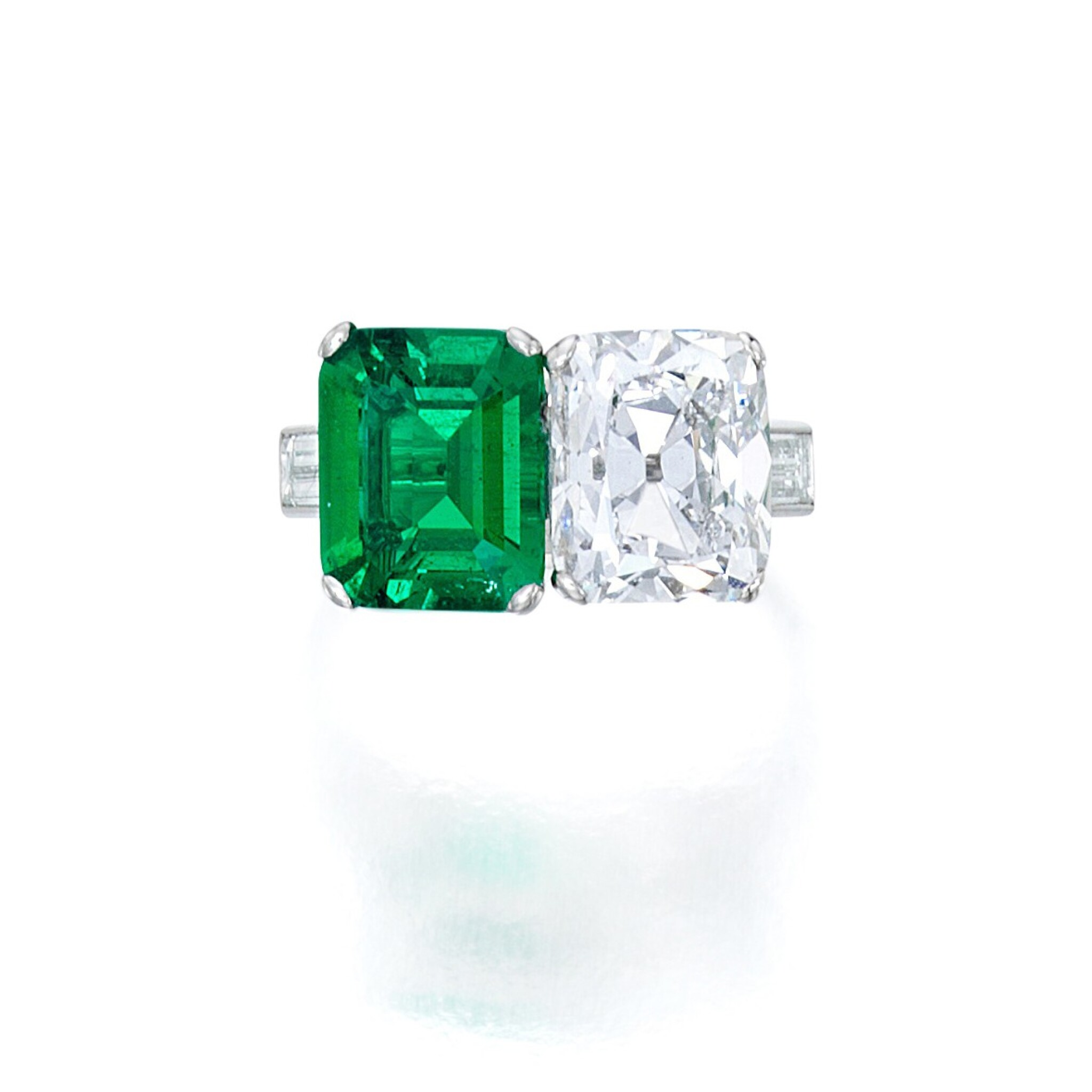 View full screen - View 1 of Lot 76. Emerald and Diamond Ring.