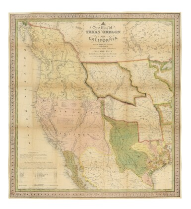 MITCHELL, SAMUEL AUGUSTUS | A New Map of Texas Oregon and California with the Regions Adjoining. Compiled from the most recent authorities. Philadelphia: Published by S. Augustus Mitchell, 1846