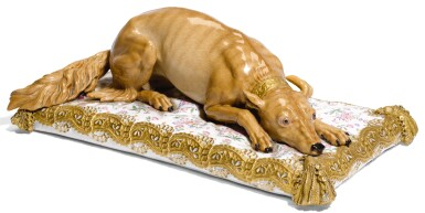A MEISSEN MODEL OF CATHERINE THE GREAT'S FAVOURITE HOUND, AFTER A MODEL BY J. J. KAENDLER, MID-19TH CENTURY