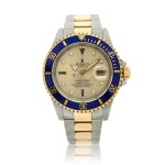 Reference 16613 Submariner  A yellow gold and stainless steel wristwatch with date, bracelet and diamond and sapphire-set indexes, Circa 1990
