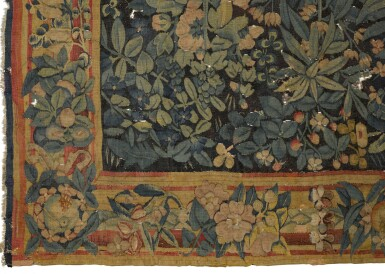 View 2. Thumbnail of Lot 87. A Flemish Armorial and Millefleurs Tapestry, Southern Netherlands, first half 16th century.
