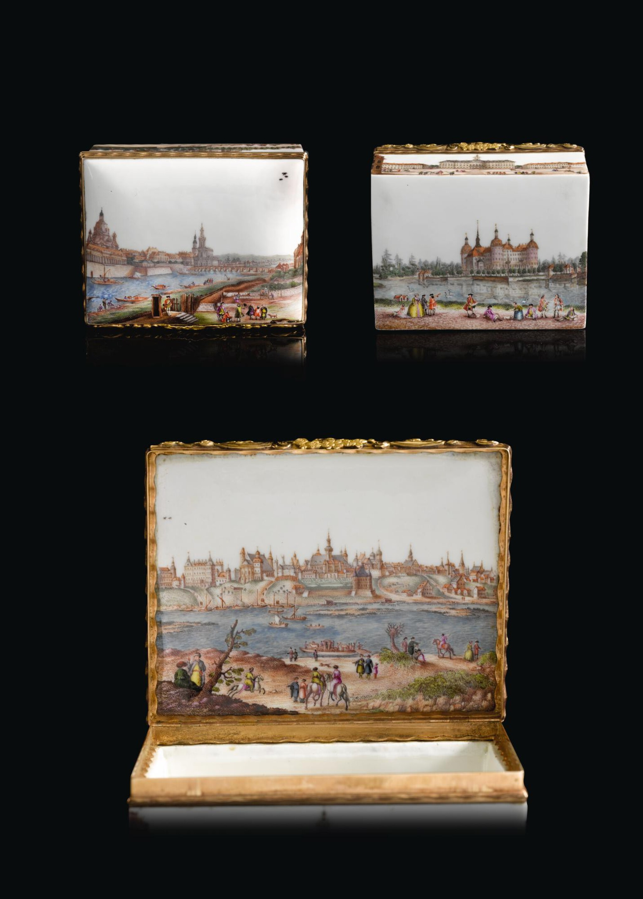 A gold-mounted Meissen porcelain topographical snuff-box, Circa 1750