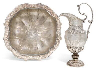 A SICILIAN SILVER EWER AND BASIN, MAKER'S MARK GFZ ALSO STRUCK V AND A SWAN, MID-19TH CENTURY