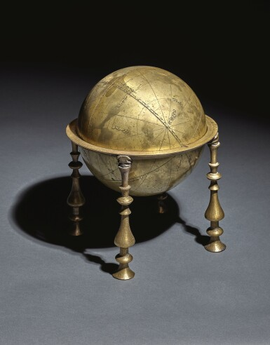View 1. Thumbnail of Lot 125. AN ELEGANT SAFAVID CELESTIAL GLOBE AND FRAME, PERSIA, 17TH CENTURY, PROBABLY ISFAHAN.