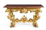 AN ITALIAN CARVED GILTWOOD CONSOLE TABLE, ROMAN, 18TH CENTURY AND LATER
