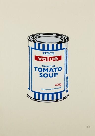 ロット29のビュー1。バンクシー| スープ缶。