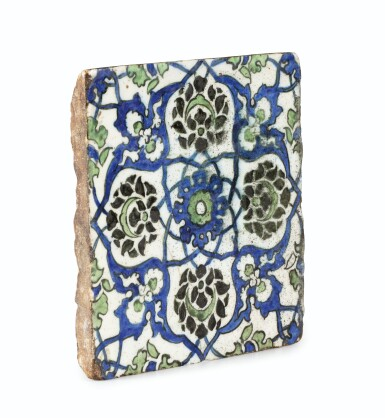 View 3. Thumbnail of Lot 130. A Group of Four Ottoman Iznik and Damascus Pottery Tiles, Turkey and Syria, 16th and 17th Centuries.