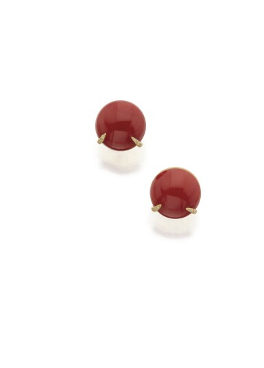 PAIR OF CORAL AND DIAMOND EARCLIPS, HENRY DUNAY