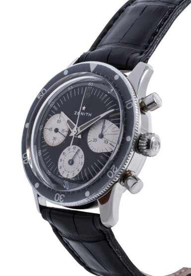 View 2. Thumbnail of Lot 82. ZENITH | STAINLESS STEEL CHRONOGRAPH WRISTWATCH CIRCA 1970.
