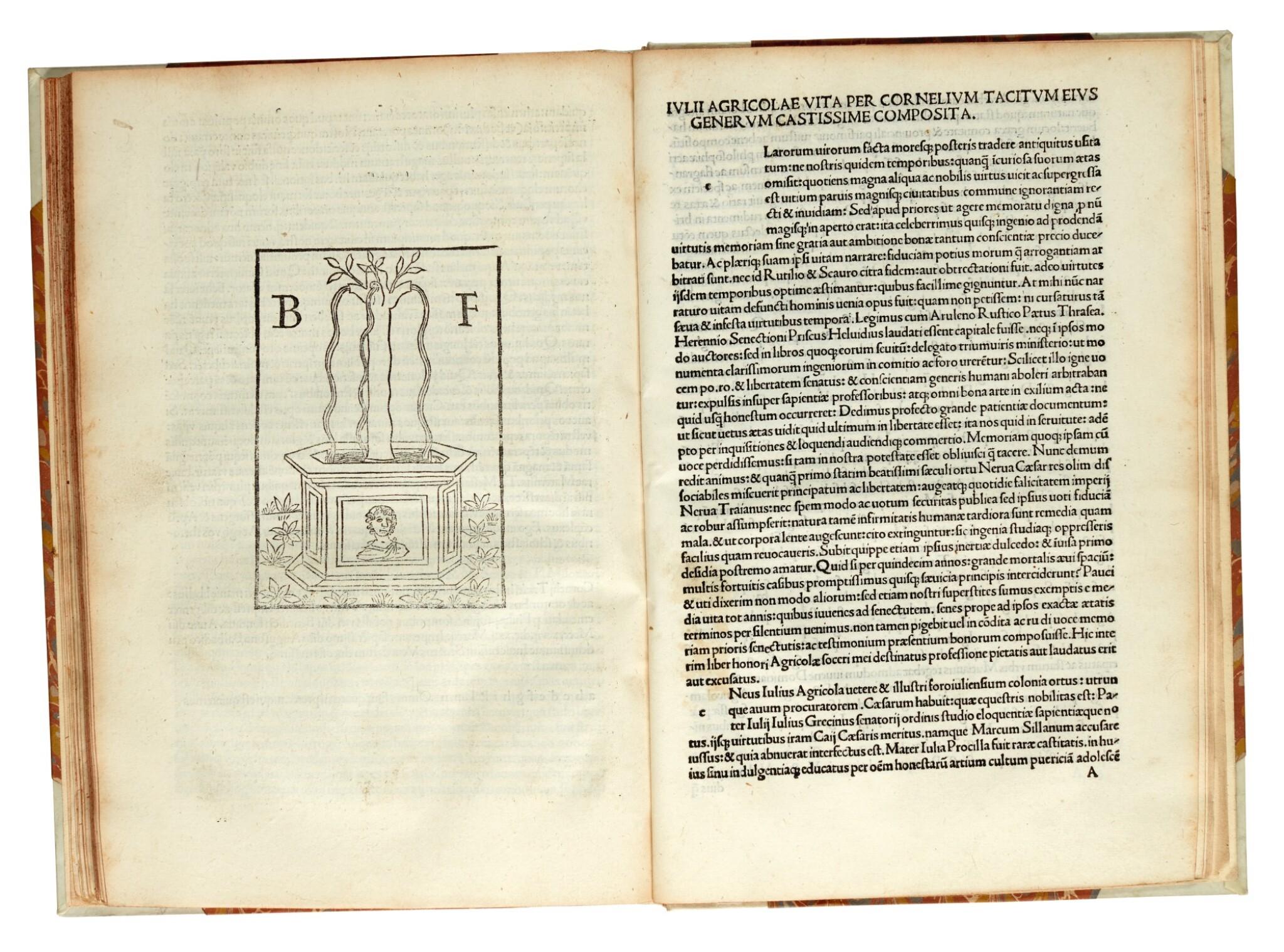 View full screen - View 1 of Lot 260. Tacitus, Opera, Venice, 1497, later half vellum.
