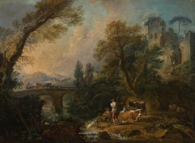 View 1. Thumbnail of Lot 178. NICOLAS JACQUES JULLIARD |  A pastoral landscape with herders and their animals resting beside a river, a bridge beyond.