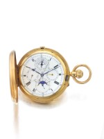 J W BENSON | A HUNTING CASED PERPETUAL CALENDAR MINUTE REPEATING CHRONOGRAPH WATCH WITH MOON PHASES AND LEAP YEAR INDICATION CIRCA 1890