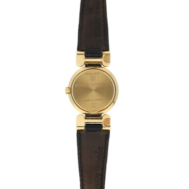 View 3. Thumbnail of Lot 77. HARRY WINSTON   EXCENTER, A YELLOW GOLD AND DIAMOND SET CENTER SECONDS WRISTWATCH WITH DATE CIRCA 2005.