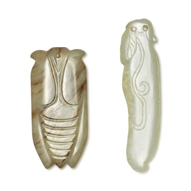 View 2. Thumbnail of Lot 168. Two carved celadon jade pendants, Ming / Qing dynasty.