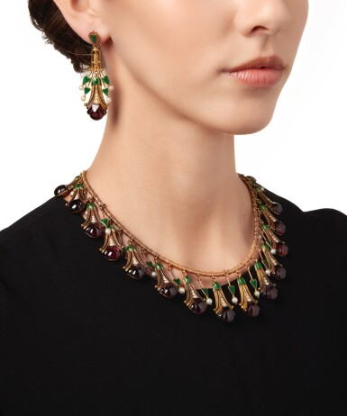 View 3. Thumbnail of Lot 586. GOLD, GARNET, SEED PEARL AND ENAMEL NECKLACE AND PAIR OF PENDANT-EARRINGS, CARLO GIULIANO | 黃金鑲翠榴石配小顆珍珠及琺瑯彩項鏈及吊耳環一對,Carlo Giuliano.