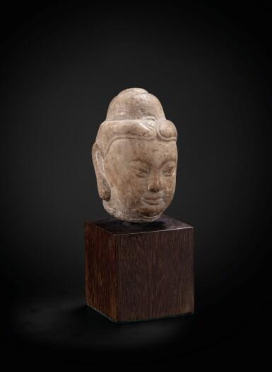 View 2. Thumbnail of Lot 39. A small marble head of Buddha Tang dynasty | 唐 大理石雕佛首.