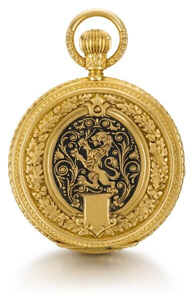 View 2. Thumbnail of Lot 47. J. ASSMANN, GLASHÜTTE   [J. Assmann,格拉蘇蒂]  | A LADY'S GOLD DECORATIVELY ENGRAVED HUNTING CASED KEYLESS LEVER WATCH MADE FOR THE SOUTH AMERICAN MARKET  CIRCA 1890, NO. 10425   [女裝黃金雕刻懷錶,為南美市場製造,年份約1890,編號10425].