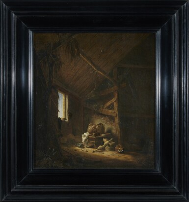 View 2. Thumbnail of Lot 276. HERMAN SAFTLEVEN | A BARN INTERIOR WITH LIGHT STREAMING THROUGH A WINDOW.