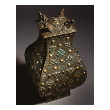 View 3. Thumbnail of Lot 578. AN EXCEPTIONALLY RARE AND IMPORTANT GOLD, SILVER AND GLASS-EMBELLISHED BRONZE VESSEL (FANG HU),  WARRING STATES PERIOD, 4TH / 3RD CENTURY BC.