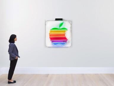 View 3. Thumbnail of Lot 84. Original Neon Rainbow Apple Logo Sign.