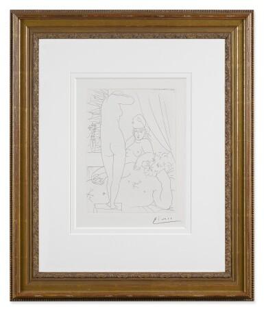 View 2. Thumbnail of Lot 10. Sculpteur au repos avec modèle démasqué et sa représentation sculptée (B. 159; Ba. 312).