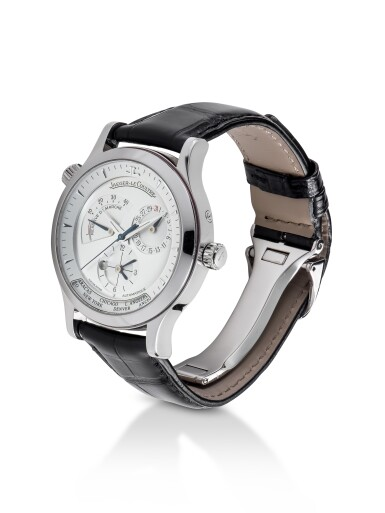 JAEGER-LECOULTRE | MASTER GEOGRAPHIC, REF 142.8.29 STAINLESS STEEL WORLD TIME WRISTWATCH WITH DATE, DAY/NIGHT AND POWER RESERVE INDICATION CIRCA 2005
