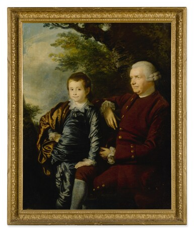 View 2. Thumbnail of Lot 656. Portrait of a gentleman and a boy in a landscape.