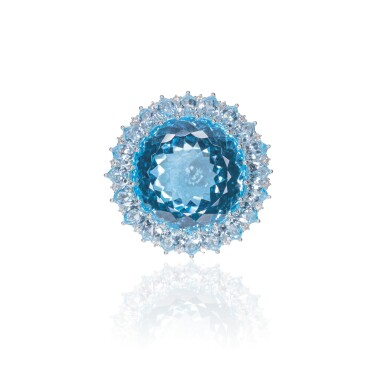 View 1. Thumbnail of Lot 22. BLUE TOPAZ AND DIAMOND RING, MICHELE DELLA VALLE.