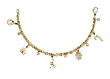View 1. Thumbnail of Lot 1433. GIMEL   GOLD, GEM SET AND DIAMOND CHARM BRACELET   Gimel   18K黃金 配 寶石 及 鑽石 手鏈.