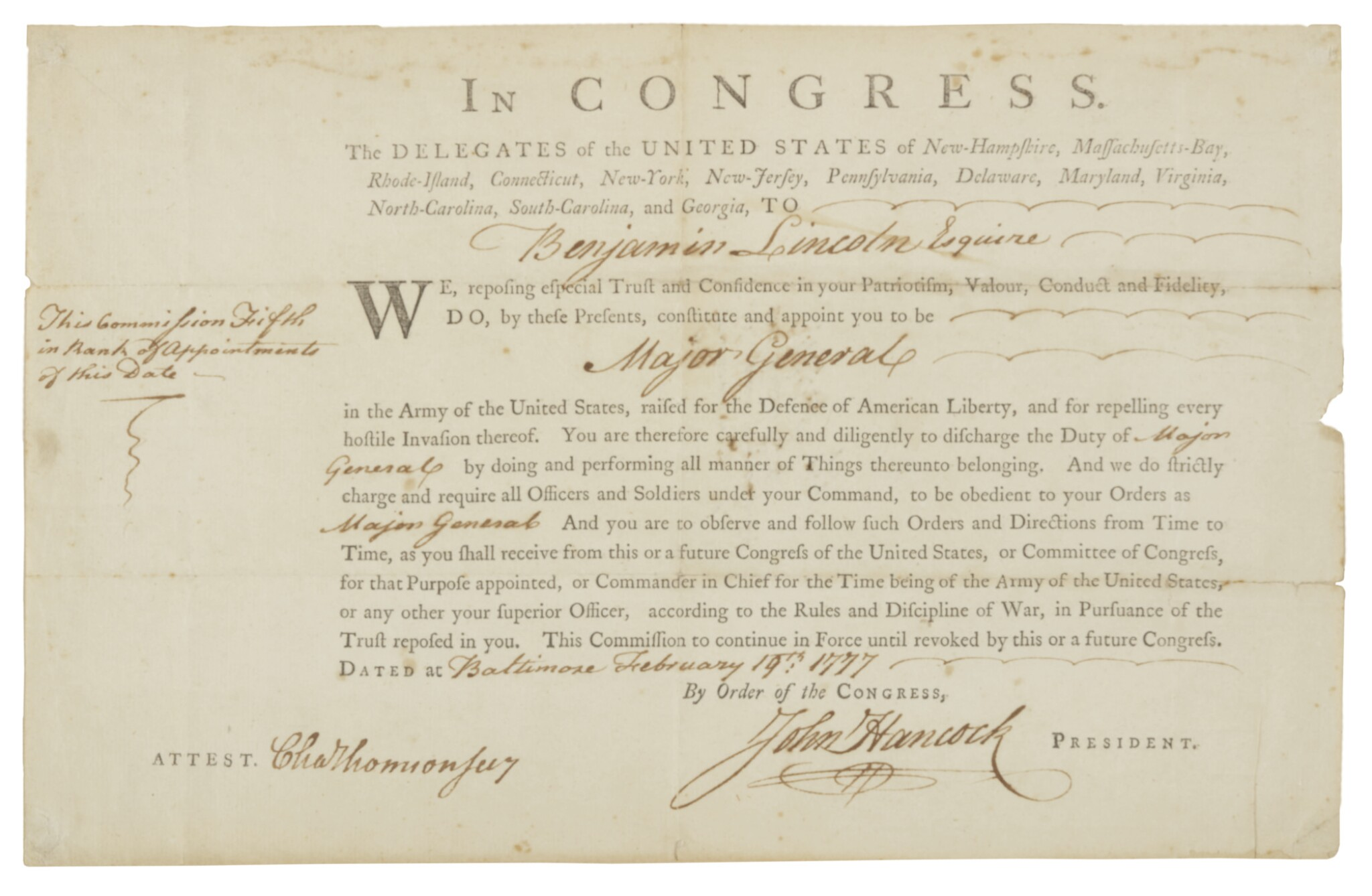 """View full screen - View 1 of Lot 50. HANCOCK, JOHN, & BENJAMIN LINCOLN   Benjamin Lincoln's Commission as Major General, signed by John Hancock (""""John Hancock"""" with paraph) as President of Congress, 19 February 1777."""
