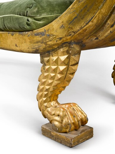 View 5. Thumbnail of Lot 163. A Regency parcel gilt and carved giltwood 'Egyptian Revival' daybed, circa 1815.