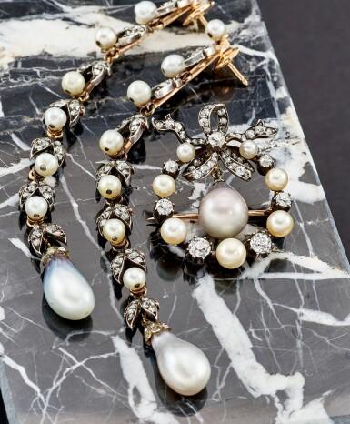 View 5. Thumbnail of Lot 9015. Natural Pearl and Diamond Earrings, 19th Century |  天然海水珍珠 配 鑽石 耳墜一對, 19世紀.