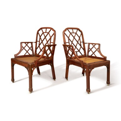 A PAIR OF GEORGE III MAHOGANY COCKPEN ARMCHAIRS, THIRD QUARTER 18TH CENTURY