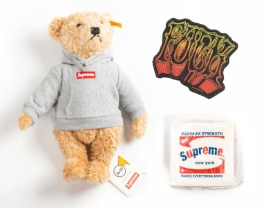 View 1. Thumbnail of Lot 41. SUPREME BRILLO PAD, TEDDY BEAR & PATCH [3 PIECES].