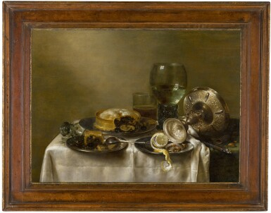 View 2. Thumbnail of Lot 11. A still life with an overturned silver tazza, glassware, pies and a peeled lemon on a table |《靜物:桌上倒轉的銀製扁花瓶、玻璃器皿、餡餅和去皮檸檬》.