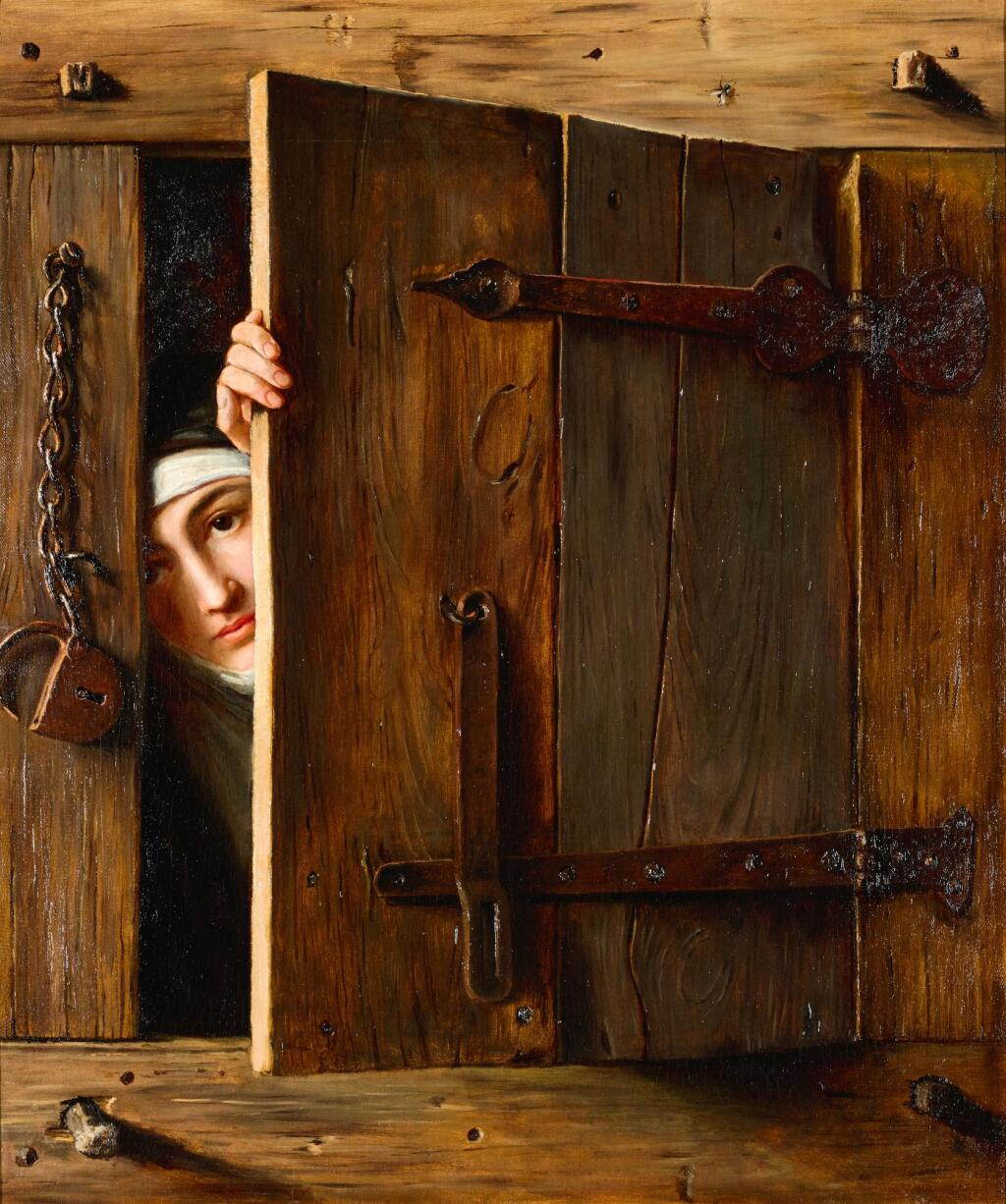 FRENCH SCHOOL, 19TH CENTURY | A trompe l'œil with a young nun peeking out through a shutter