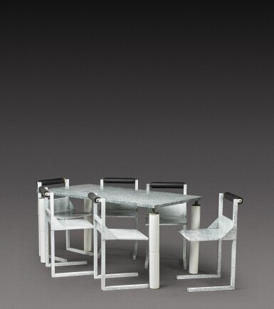 View 1. Thumbnail of Lot 186. Dining set comprising one table and six chairs.