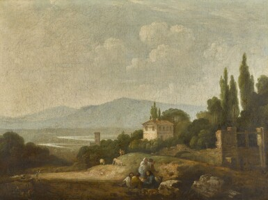View 1. Thumbnail of Lot 199. A view over Villa Madama, Rome, and surrounding countryside.