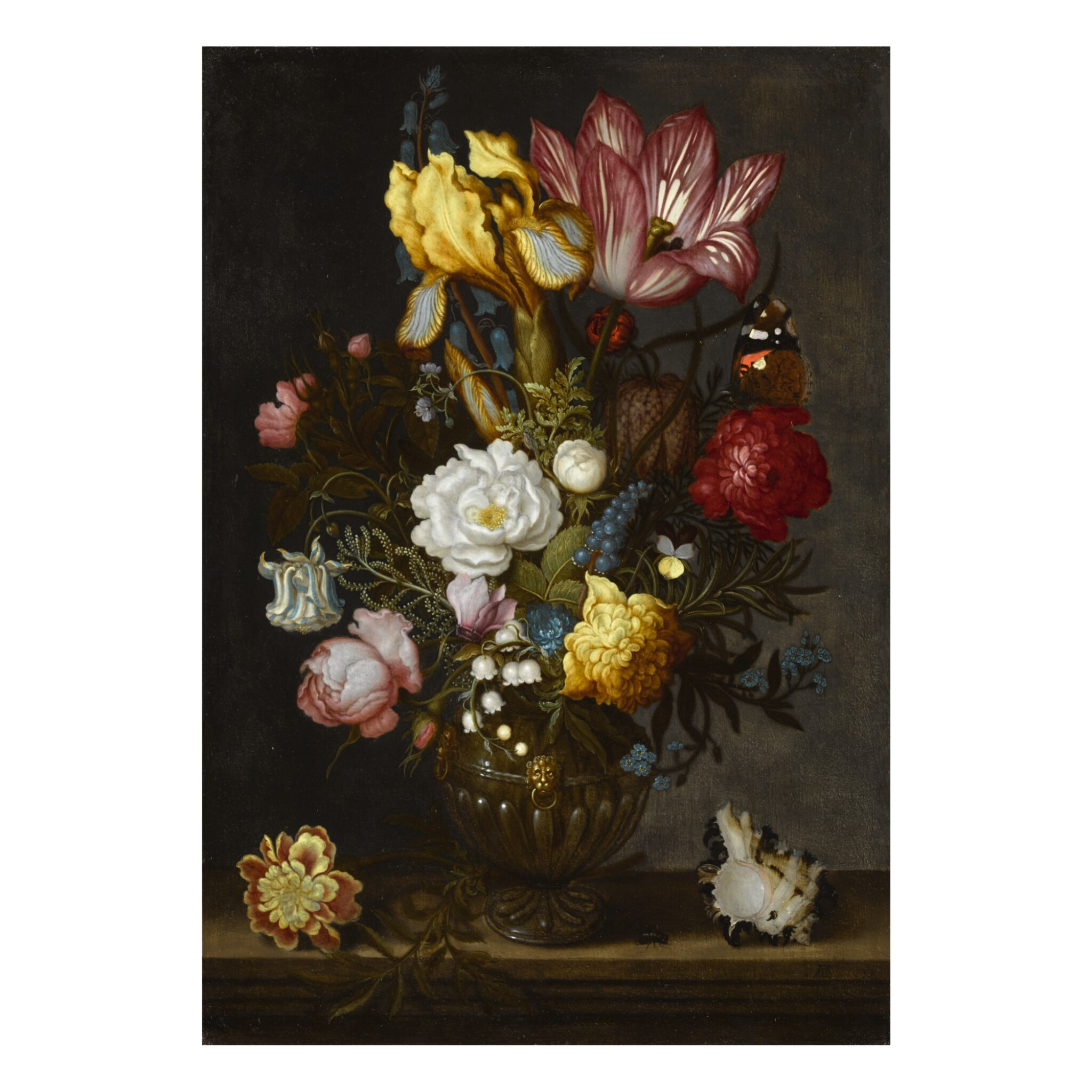 View full screen - View 1 of Lot 38. A still life of white and red roses, a tulip, anemones, a hyacinth, a pansy, lily-of-the-valley, and other flowers in an ornamented glass vase on a hard-stone ledge, with a shell, a bluebottle and a Red Admiral butterfly.