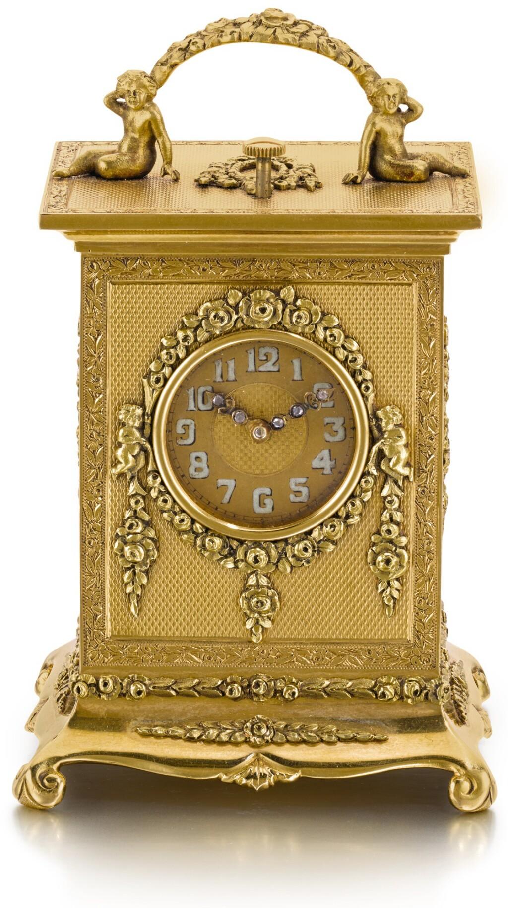 L. TISSOT & CO | A MINIATURE GOLD QUARTER REPEATING CARRIAGE TIMEPIECE  1924