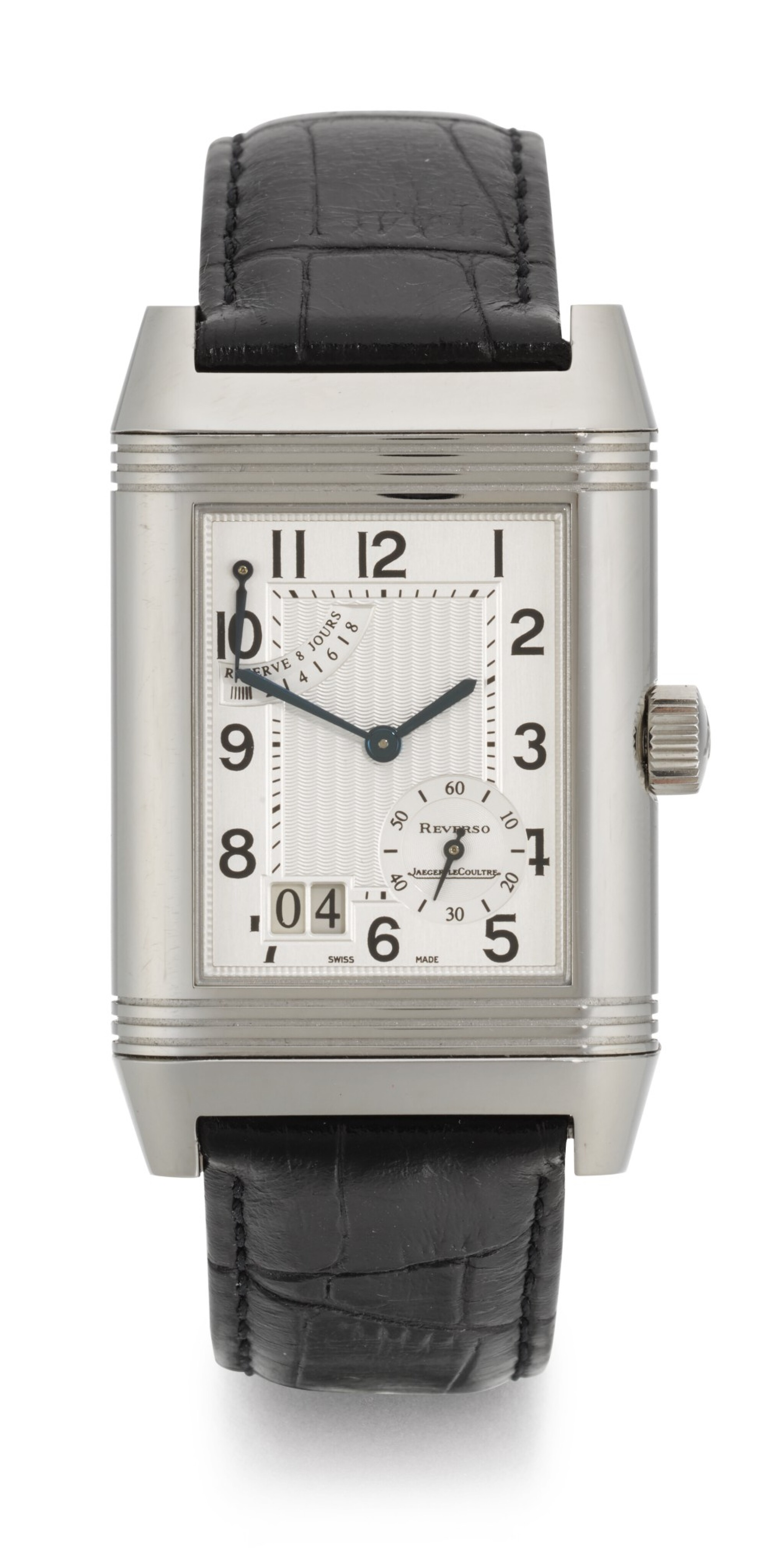 View full screen - View 1 of Lot 20. JAEGER LECOULTRE | REVERSO, REFERENCE 240.8.15, STAINLESS STEEL REVERSIBLE RECTANGULAR WRISTWATCH WITH 8-DAY POWER-RESERVE INDICATION AND DATE, CIRCA 2003.