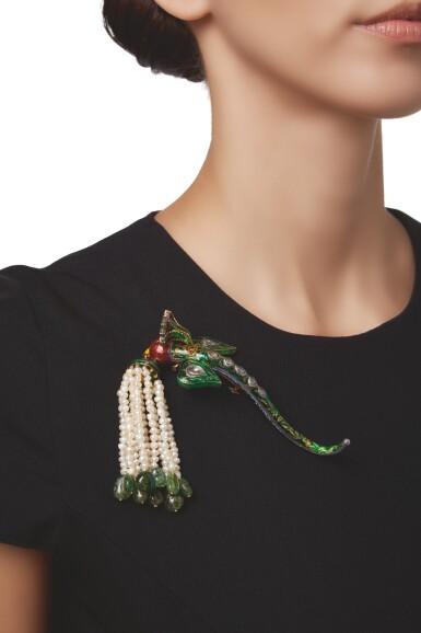 View 3. Thumbnail of Lot 596. SEED PEARL, GEM-SET AND ENAMEL TURBAN ORNAMENT (TURRA) | 小顆珍珠配寶石及琺瑯彩頭巾裝飾.