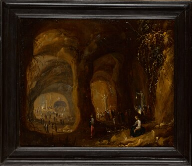 View 2. Thumbnail of Lot 18. ROMBOUT VAN TROYEN | A grotto withfigures worshipping idols.