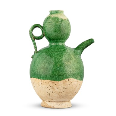 View 3. Thumbnail of Lot 201. A green-glazed pottery 'double-gourd' ewer, Liao dynasty | 遼 綠釉葫蘆形執壺.