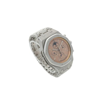 View 3. Thumbnail of Lot 113. REFERENCE 25865BC.OO.1105BC.01ROYAL OAK GRAND COMPLICATION AN IMPRESSIVE AND HEAVY WHITE GOLD AUTOMATIC MINUTE REPEATING PERPETUAL CALENDAR SPLIT SECONDS CHRONOGRAPH WRISTWATCH WITH BRACELET, MOON PHASES AND LEAP YEAR INDICATION, CIRCA 2004.
