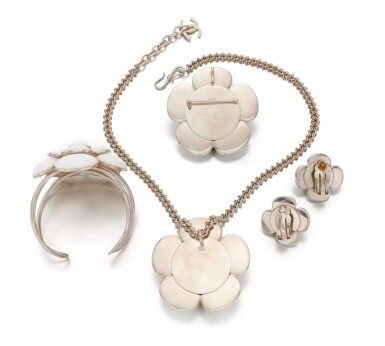 View 3. Thumbnail of Lot 143. Collection of white Camellia jewelry.