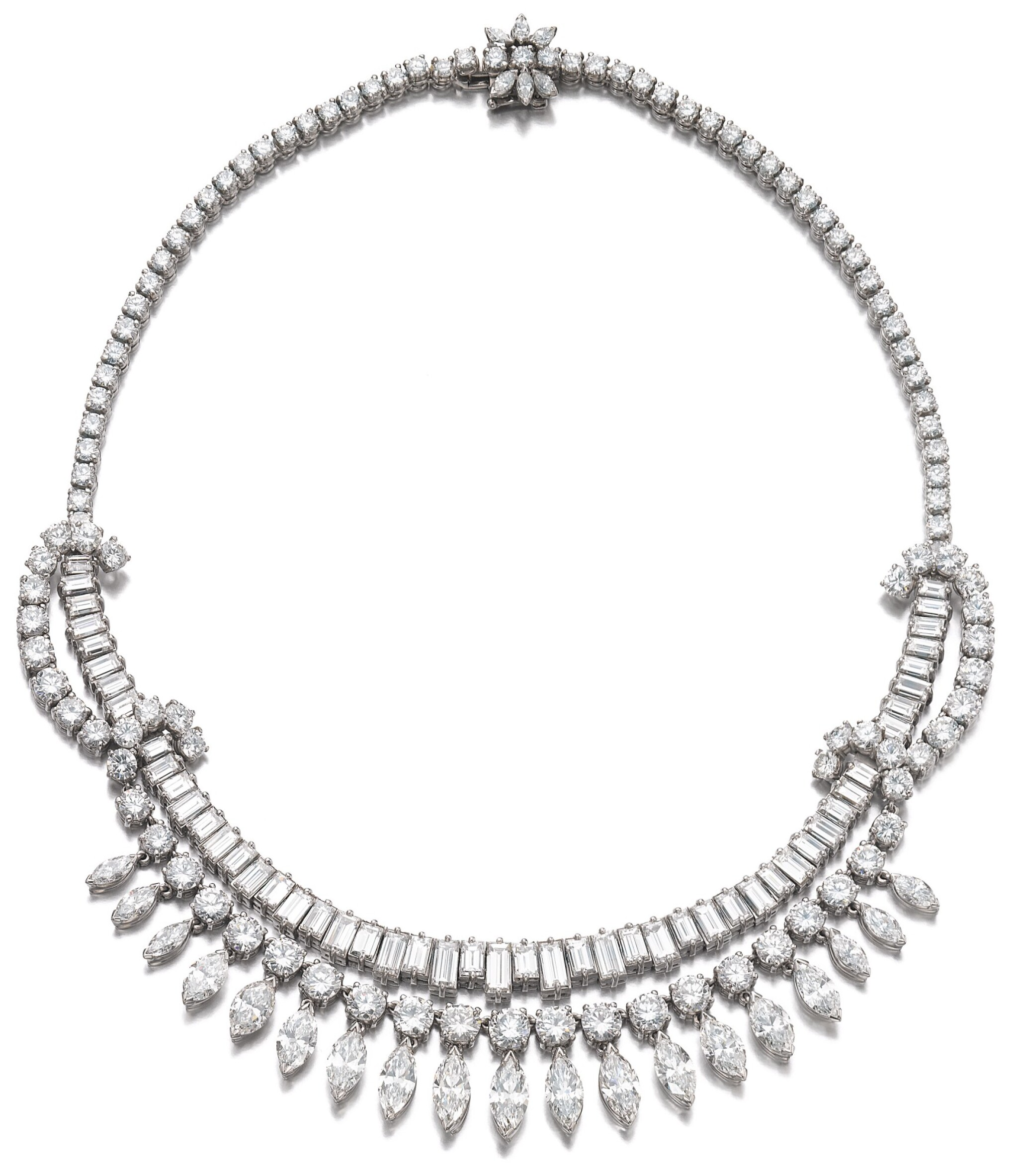 View full screen - View 1 of Lot 63. DIAMOND NECKLACE, 1950S.